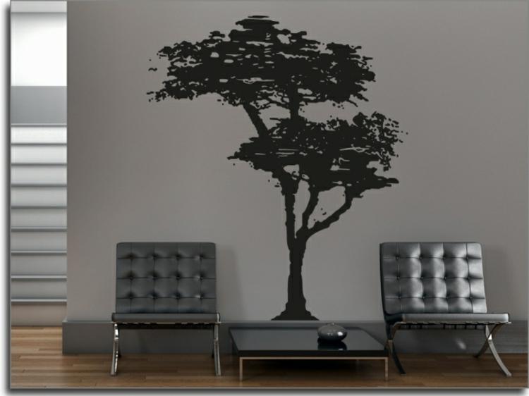 edles-baum-in-schwarz-auf-grauer-wand-schick-edel-besonders-modern-luxus-schlicht-hingucker-passend