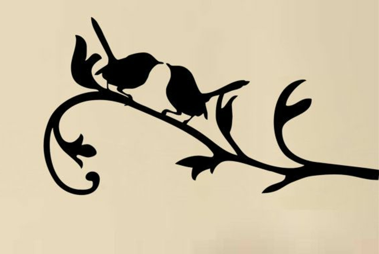 wand-tattoo-äste-baum-vögel-schick-edel-besonders-modern-luxus-pur-gelber-hintergrund