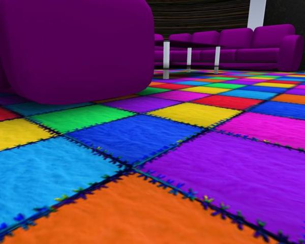 bunte Teppiche - lila sofa