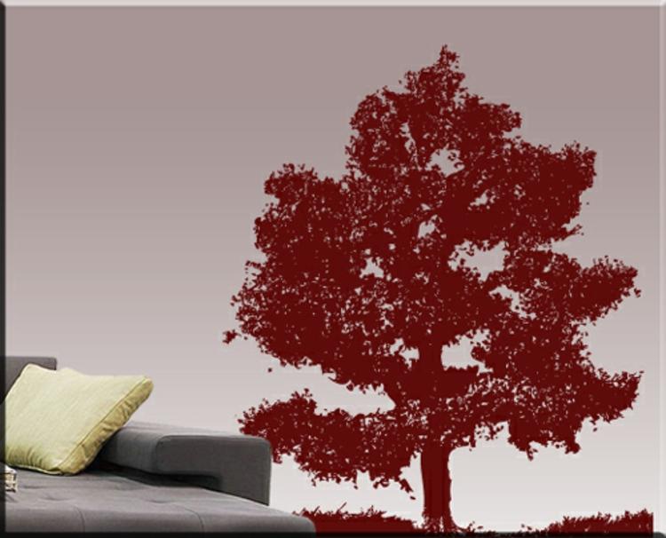 wohn-zimmer-dekoration-in-rot-besonders-schick-edel-baum-laub-mahlen