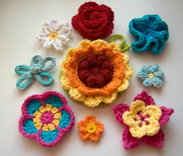 Blumen häkeln - viele verschiedene modelle