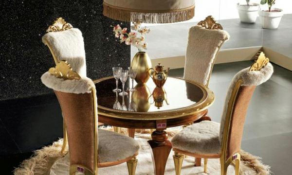 artdeco stil - schicke stühle und runder teppich