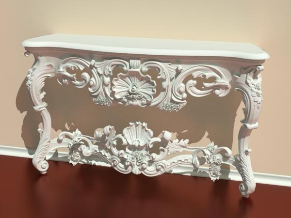 barocktisch - viele weiße schöne ornamente