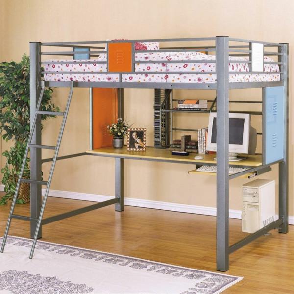 Vorschlage Gestaltung Kinderzimmer : hochbett mitschreibtischdaneben eine große grüne pflanze