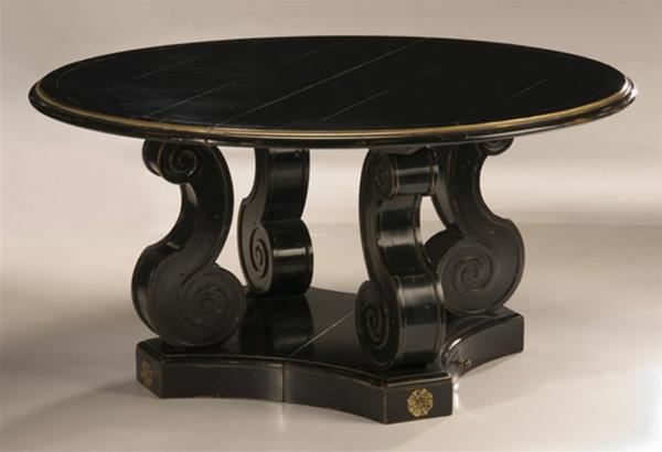 barock tisch - schwarzes modell mit runder form