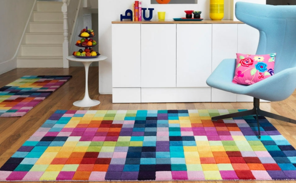 teppich bunt quadrate haus deko ideen. Black Bedroom Furniture Sets. Home Design Ideas