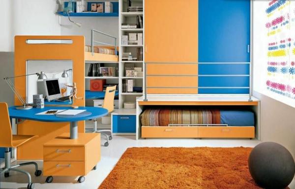 hochbett mitschreibtisch - kinderzimmer in dunkel blau und orange