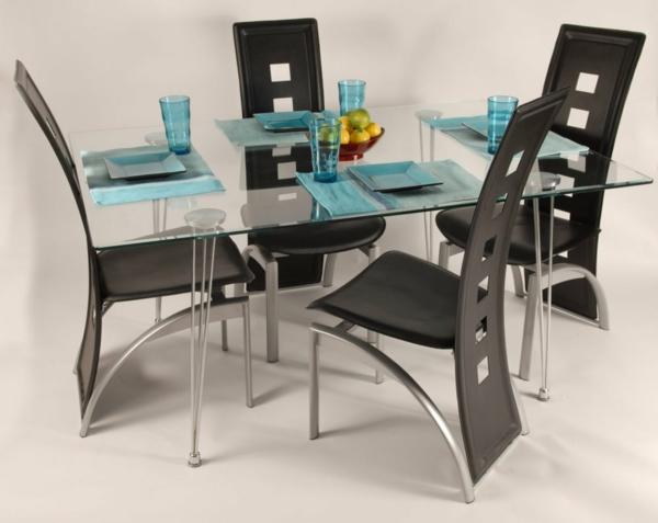 esszimmerset - gläserner viereckiger esstisch und schwarze stühle
