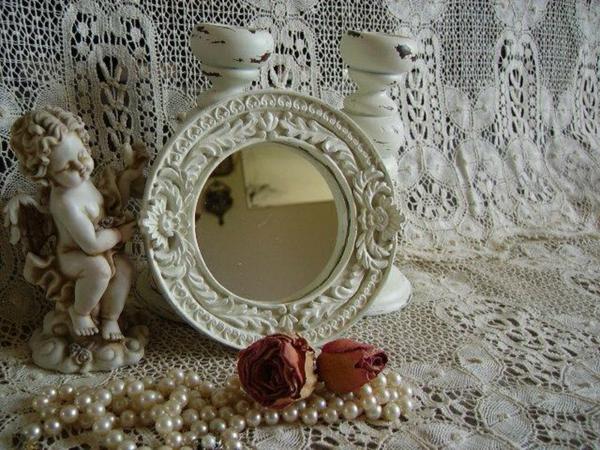 barockspiegel - kleines rundes modell in weiß