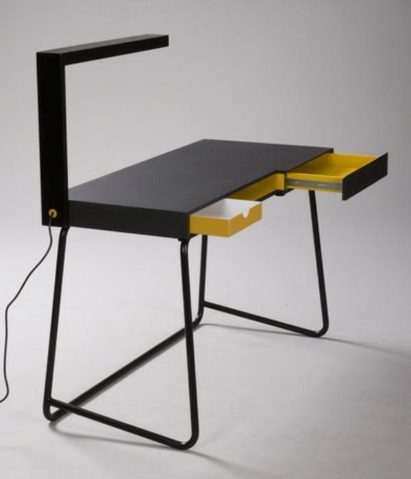 designerschreibtisch - schwarzes modell mit gelben schubladen