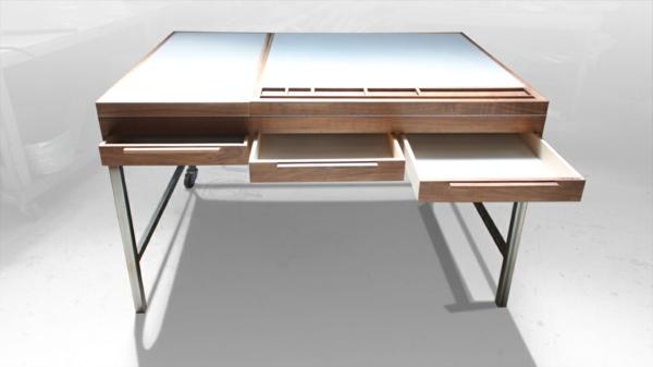 designerschreibtisch - modell aus holz - mit drei schicken schubladen