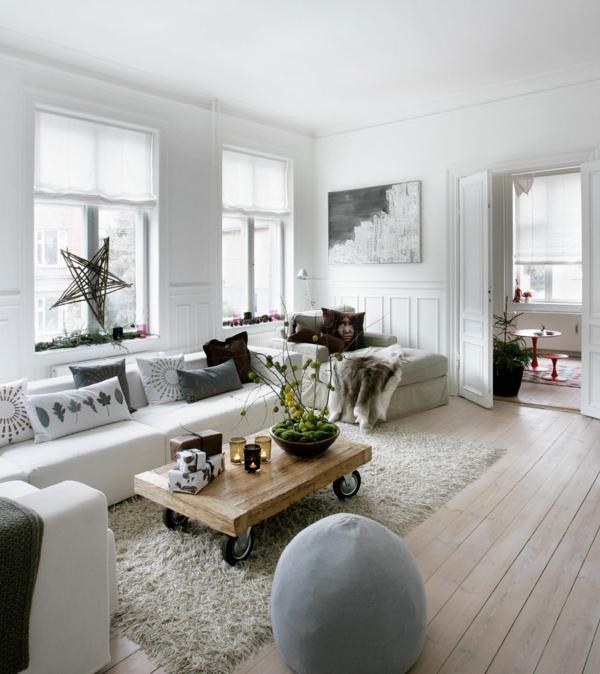 wohnzimmer deko natur:natürliche dekoration – weißes wohnzimmer mit einem schönen sofa
