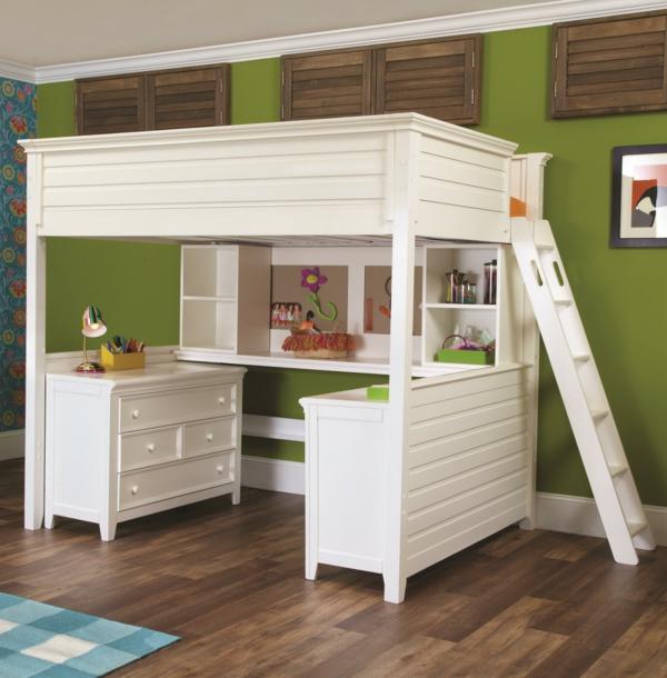 Vorschlage Gestaltung Kinderzimmer : wunderschönes weißes hochbett mit treppe und einem schreibtisch