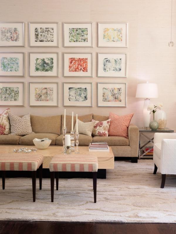 romantische liebe inspiration -  viele bilder an der wand im wohnzimmer