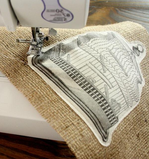 Kissenbedrucken - eine nähmaschine