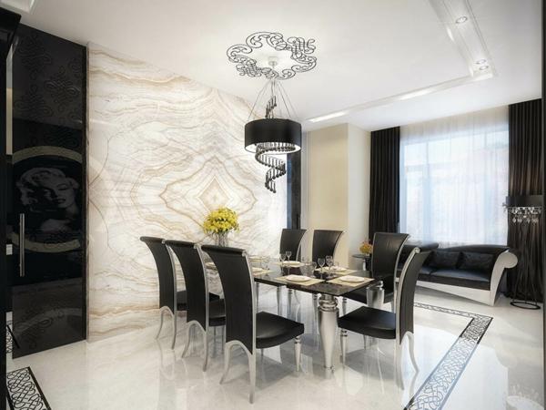 elegante moderne schwarze lederstühle für esszimmer