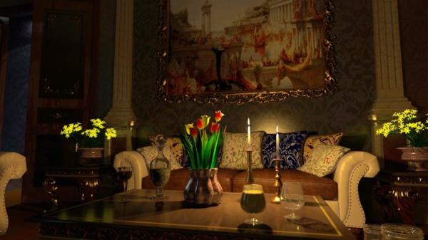 romantische liebe inspiration - tulpen und kerzen auf dem kaffeetisch im wohnzimmer