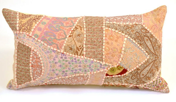 Patchwork modell vom  Kissen - pfirsichfarbe - sehr schön