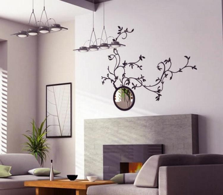 spiegel-wand-pflanzen-muster-wohnzimmer-neu-design-schick-modern