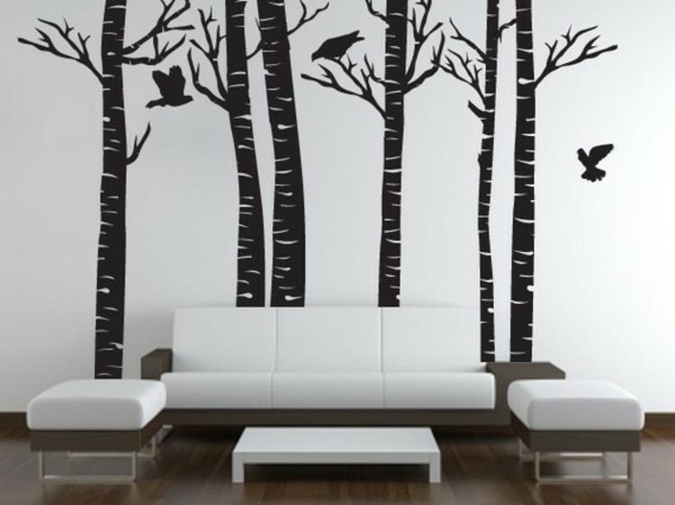 wand-dekoration-schwarz-holz-wald-besonders-edel-schick-vögel-wohnzimmer