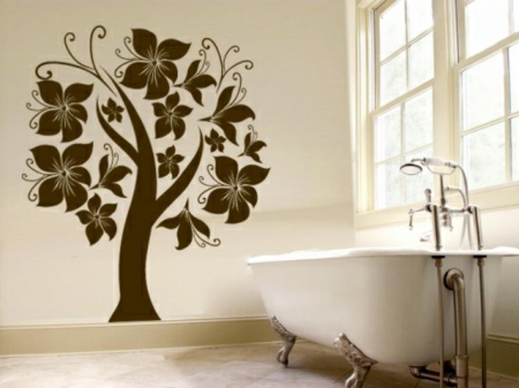 wand-dekoration-schick-edel-besonders-baum-blühten-badezimmer-braun