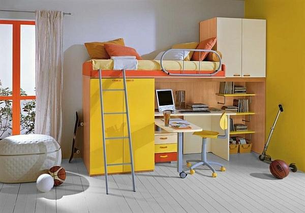 hochbett mit schreibtisch - gelbes bett modell