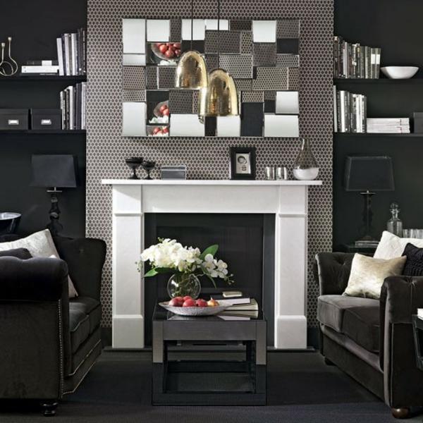 artdeco stil - weißer kamin und extravaganter spiegel