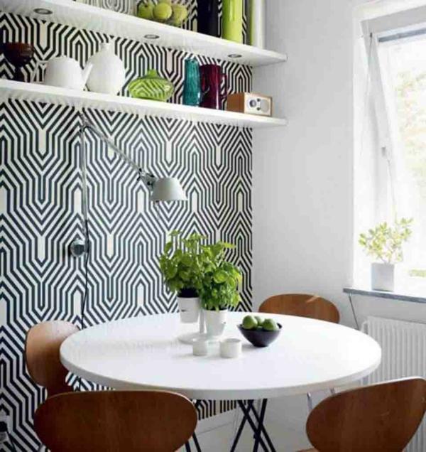 wandtattoo esszimmer - tapete in weiß und schwarz