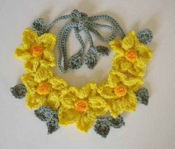 Blumen häkeln - gelbe wunderschöne kette