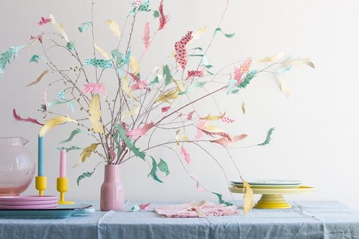 basteln für den ostertisch, tischdeko selber machen, tischdekoration in pastellfarben
