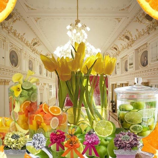 exotischesobst dekoration - mit gelben tulpen
