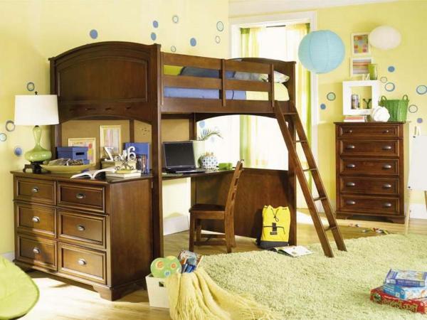 Vorschlage Gestaltung Kinderzimmer : hochbett mitschreibtisch  schönes hölzernes design