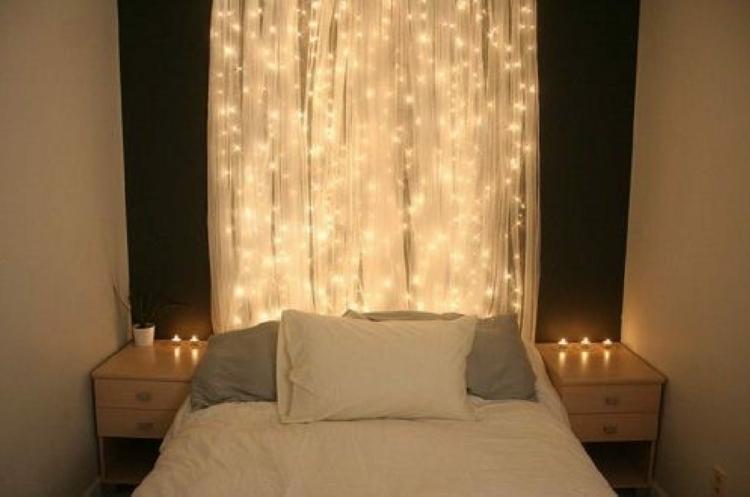 Romantisches bett mit lichterkette  Lichterkette - die bezauberndsten Ideen - Archzine.net