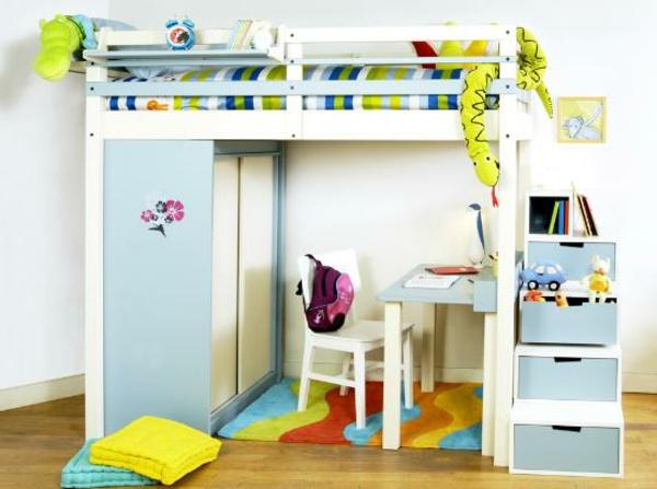 hochbett mitschreibtisch - kinderzimmer in weiß und blau