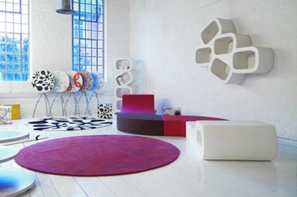 bunte Teppiche - rundes design im schönen zimmer
