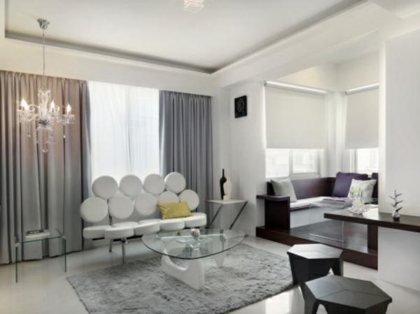 artdeco stil -  modernes interessantes weißes sofa