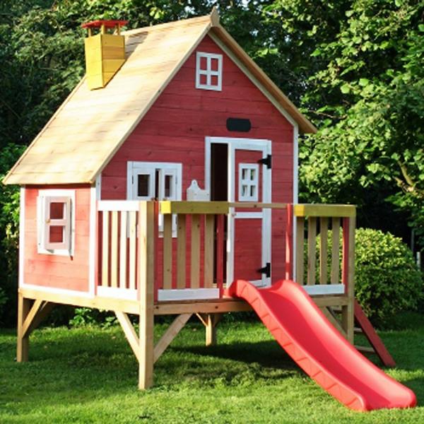 spielhauser garten, coole spielhaus holz rot f 252 r den garten mit ballons - 28 images, Design ideen