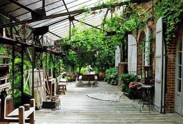 landhausdekoration - grüne kletterpflanzen für draußen