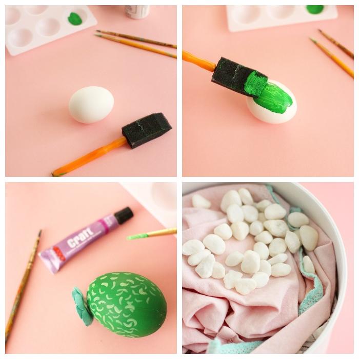 deko ostern, eier wie kakteen dekorieren, weißer eiergestell, kleine steine, diy bastelaneltung
