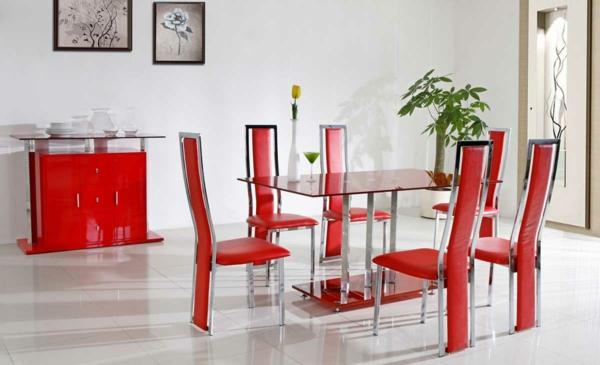 ultramoderne rote lederstühle für esszimmer
