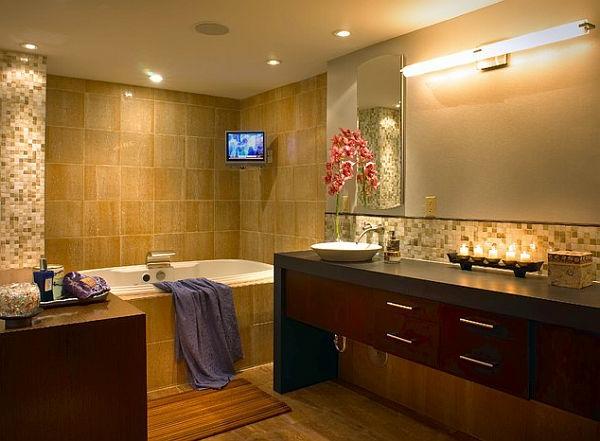 Badezimmer Einrichten Sandsteinoptik ~ Raum Haus Mit Interessanten