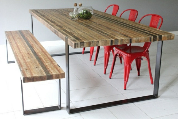 esszimmer-komplett-sitzbank-esszimmer-schöne-interior-design-ideen-esszimmertisch-mit-stühlen-in-rot