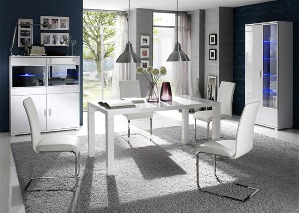 esszimmer-möbelset-in-weiß-esszimmerstühle-esszimmertisch-design-ideen