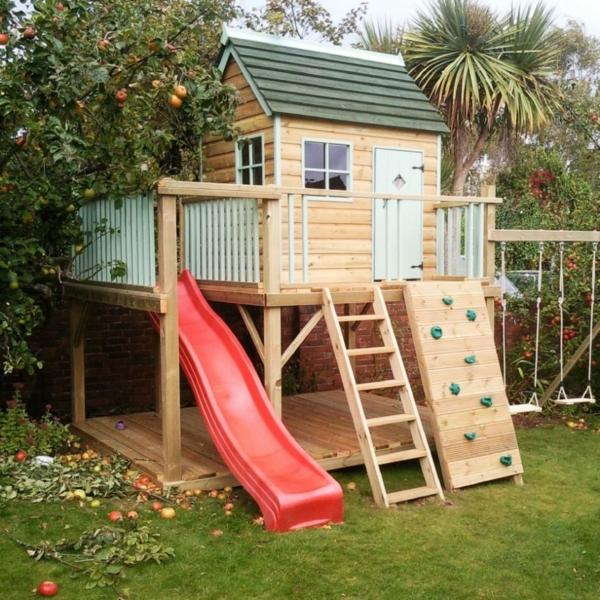 fantastische-spielhäuser--mit-rutsche-im-garten-für-die-kinder-super-tolles-kinderhaus-mit-kletterwand-zum-spaß
