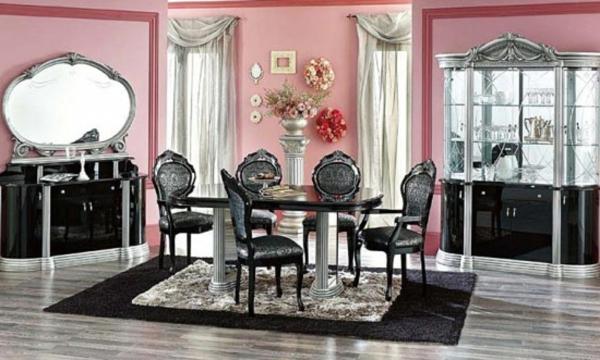 esszimmerset - rosige wände und schwarze möbel