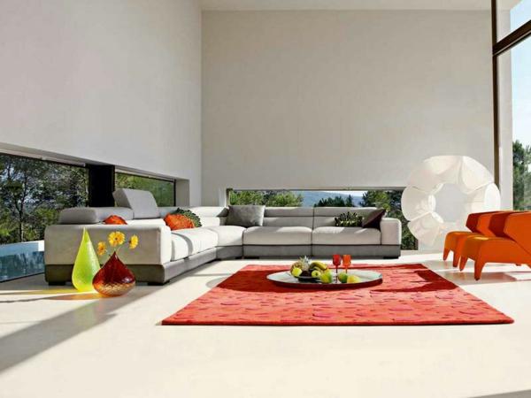 Teppich in bunten Farben - cooles modell im luxuriösen wohnzimmer