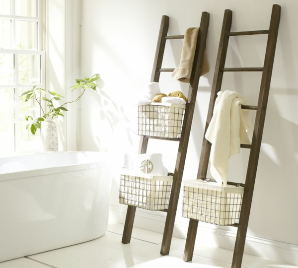 Schön Ideen Zur Aufbewahrung Mit Leitern Aus Holz Handtuchhalter