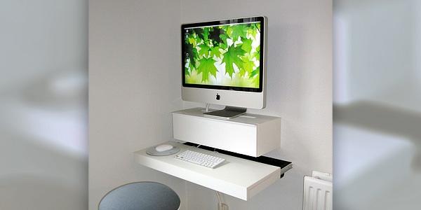 designer schreibtisch - elegantes weißes design - super klein und funktionell