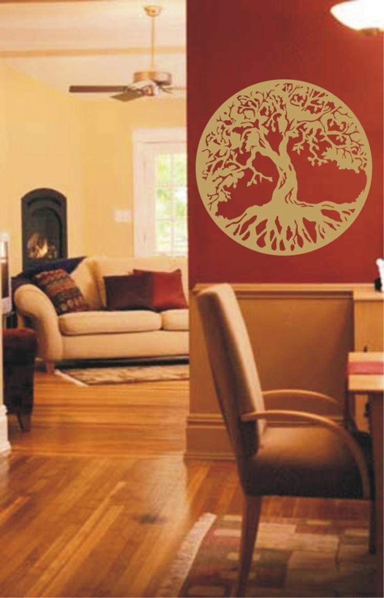 baum-des-lebens-wand-dekoration-schick-edel-besonders-modern-gold-auf-rot-kontrast