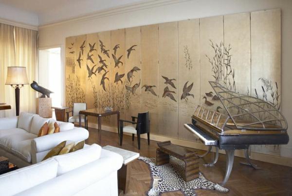 art deco stil -  kreative wandgestaltung und ein klavier im wohnzimmer